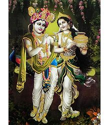 Radha Krishna in a Playful Mood - Glitter Poster