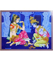 Krishna Applying Alta to Radha's Feet -Poster
