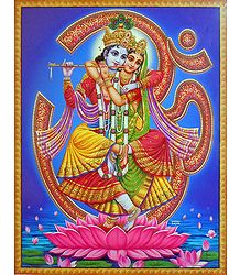 Radha Krishna Jugal Milan in Front of Om - Poster