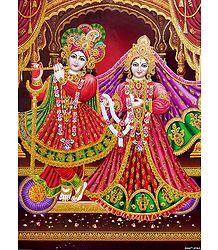 Glitter Poster of Radha Krishna