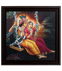 Framed Picture of Radha Krishna on a Swing