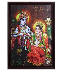 Framed Picture of Radha Krishna - Wall Hanging