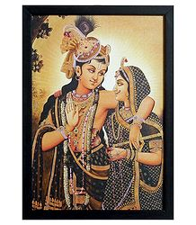 Radha Krishna Picture on Laminated Board