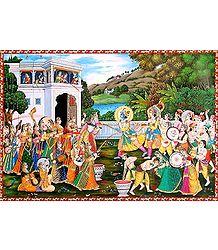 Krishna Playing Holi with Radha and Gopinis