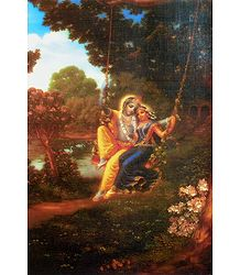 Radha Krishna on a Swing - Poster