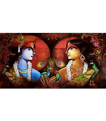Radha Krishna with Peacocks