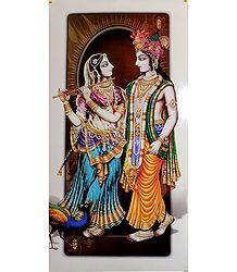 Radha Playing Flute with Krishna