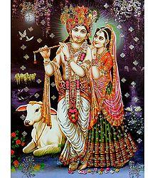 Radha Krishna - Glitter Poster