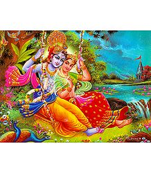 Radha Krishna on a Swing- Poster