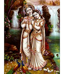 Radha Learning Flute from Krishna- Poster
