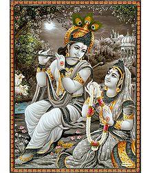 Radha Offering Garland to Krishna