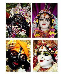 Set of 4 Radha Krishna Photo Print