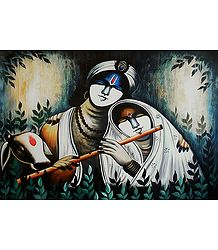 Krishna Enjoying the Music of Radha's Flute