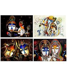 Radha Krishna - The Divine Lovers - Set of 4 Posters