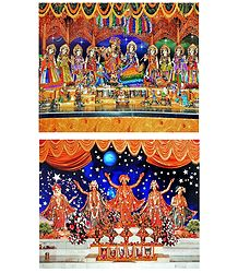 Radha Krishna with Eight Gopinis - Set of 2 Photo Print