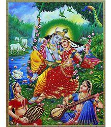 Gopinis Entertaining Radha Krishna on a Swing