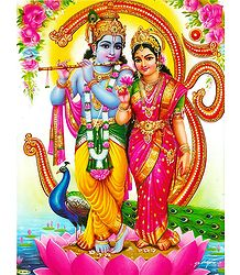 Radha Krishna in Front of Om