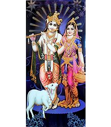 Radha Krishna with Cow