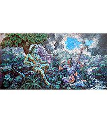 Radha Krishna Enjoying Music