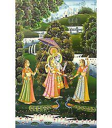 Radha Krishna with Two Gopinis