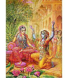 Krishna in Disguise Placates Abhimanini Radha