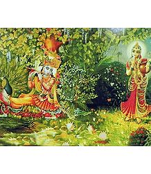 Radha Mesmerised by the Sound of Krishna's Flute