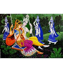 Radha Krishna on a Swing - Unframed Poster