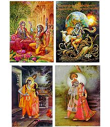 Radha Krishna and Murlidhar Krishna - Set of 4 Posters