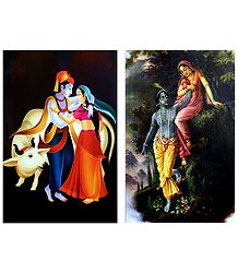 Radha Krishna in a Romantic Mood - Set of 2 Posters