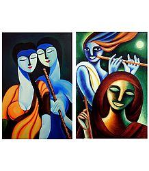 Radha Krishna and Krishna Meerabai - Set of 2 Posters