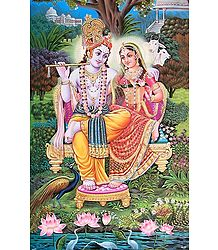 Radha Krishna Sitting on a Throne - Poster