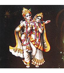 Radha Playing Flute with Krishna - Poster