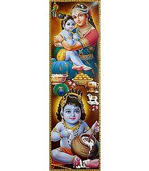 Makhan Chor Krishna with Mother Yashoda - Poster