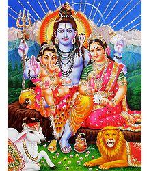 Shiva Parvati with Ganesha - Glitter Poster