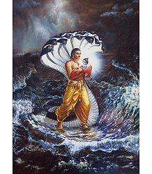 Vasudeva Carries New Born Krishna to Gokul - Poster