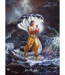 Vasudeva Carries Krishna to Gokul - Poster