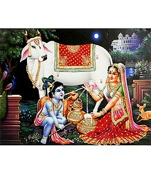 Yashoda Feeding Milk to Krishna - Poster