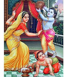 Yashoda with Krishna and Balaram