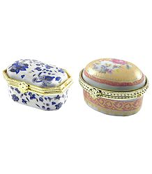 Pair of Ceramic Kumkum Containers