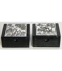 Set of 2 Wooden Kumkum Containers