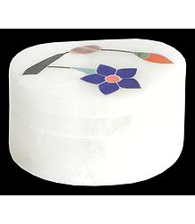 Marble Kumkum Container with Inlay Work