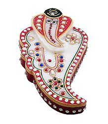 Marble Kumkum Container with Ganesha Face