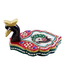 Marble Kumkum Container with Peacock