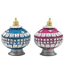 Blue and Magenta Kumkum Container