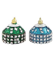 Pair of Blue and Green Kumkum Containers