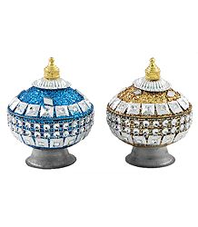 Blue and Golden Kumkum Container