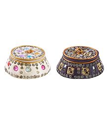 Set of 2 Decorative Lac Kumkum Containers