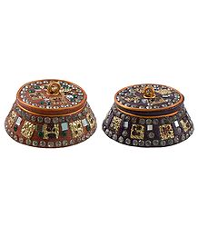 2 Decorative Lac Kumkum Containers