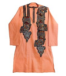 Mens Appliqued Peach Cotton Kurta with Kantha Embroidery