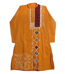 Appliqued Yellow Cotton Kurta for Men